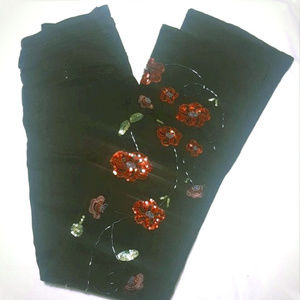 NEW Black poppy Embroidered beaded sequined jeans